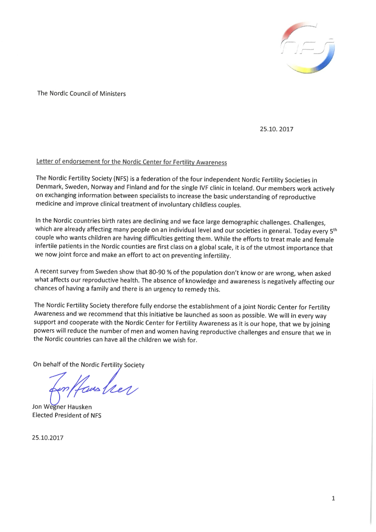 Nordic Fertility Society  NordicfsOrg  Letter Of Endorsement